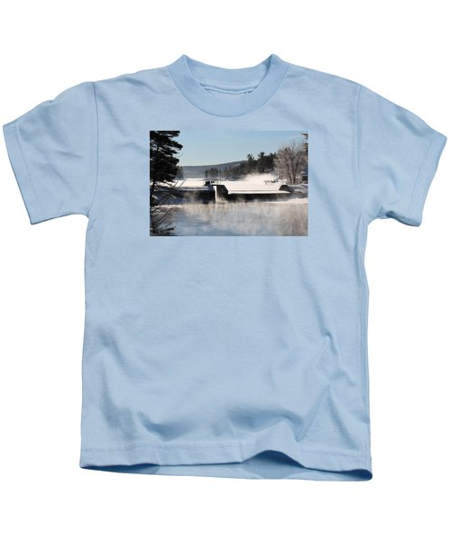 Winter  Pine River Pond  Kids T-Shirt
