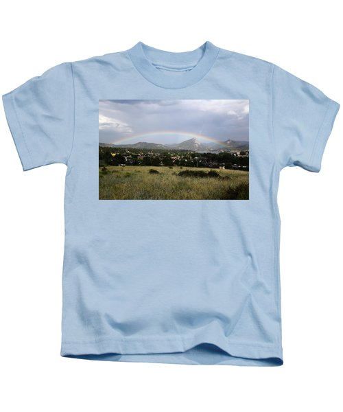 Rainbow Over Lake Estes Kids T-Shirt