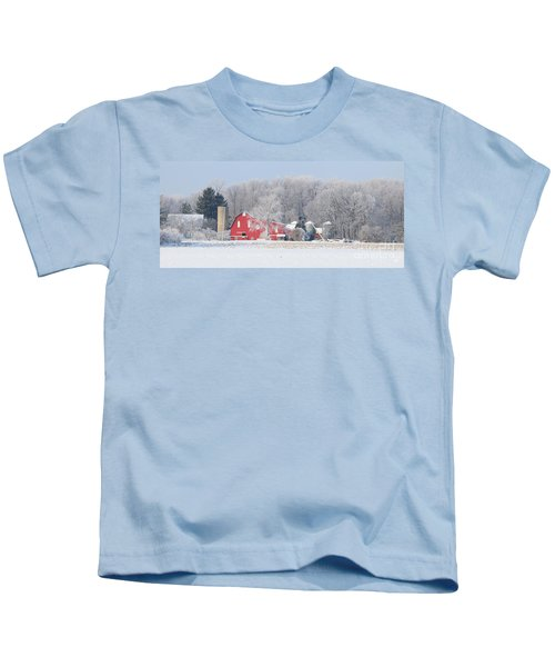 Red Barn Frosty Morning Panorama1 Kids T-Shirt by Jack Schultz