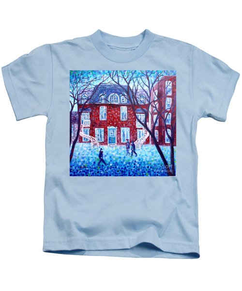 Red House In Montreal - Cityscape Kids T-Shirt