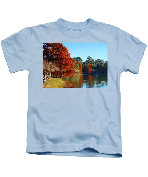 Red Pine On Lake Ella Kids T-Shirt