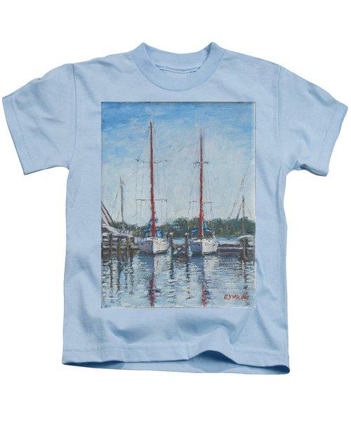 Red Sails Under Gray Sky Kids T-Shirt