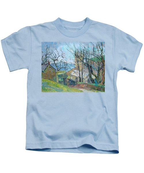 Reverend Hawkers Church At Morwenstow Oil On Canvas Kids T-Shirt