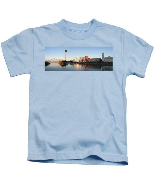 Rheinturm Tower With Neuer Zollhof Kids T-Shirt