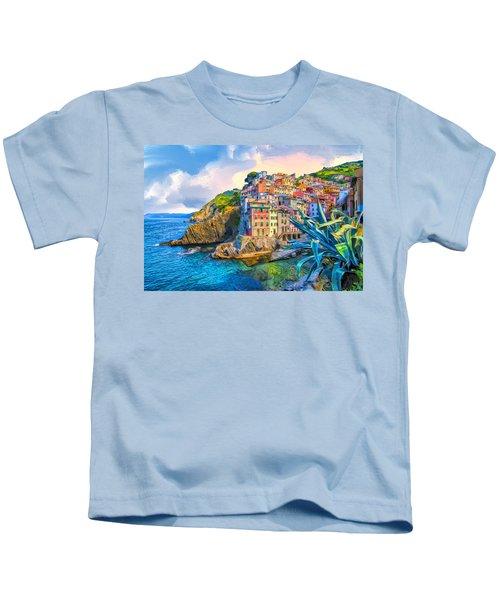 Riomaggiore Morning - Cinque Terre Kids T-Shirt