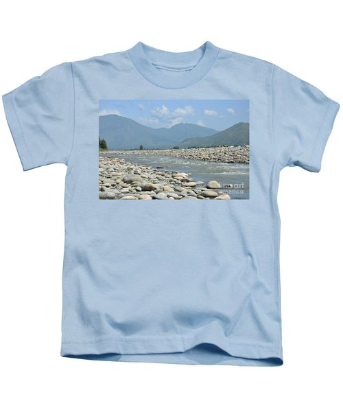 Riverbank Water Rocks Mountains And A Horseman Swat Valley Pakistan Kids T-Shirt