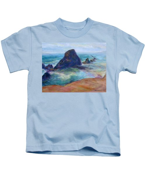 Rocks Heading North - Scenic Landscape Seascape Painting Kids T-Shirt