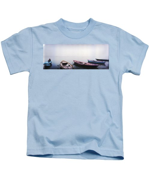 Row Boats In A River, Ganges River Kids T-Shirt