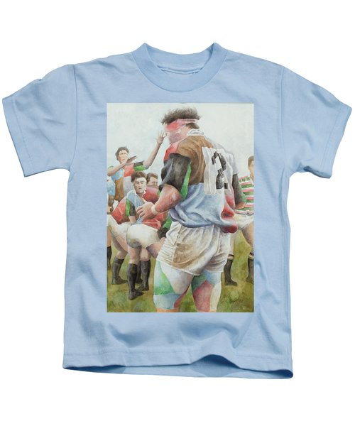 Rugby Match Harlequins V Northampton, Brian Moore At The Line Out, 1992 Wc Kids T-Shirt