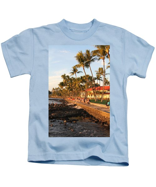 Seawall At Sunset Kids T-Shirt