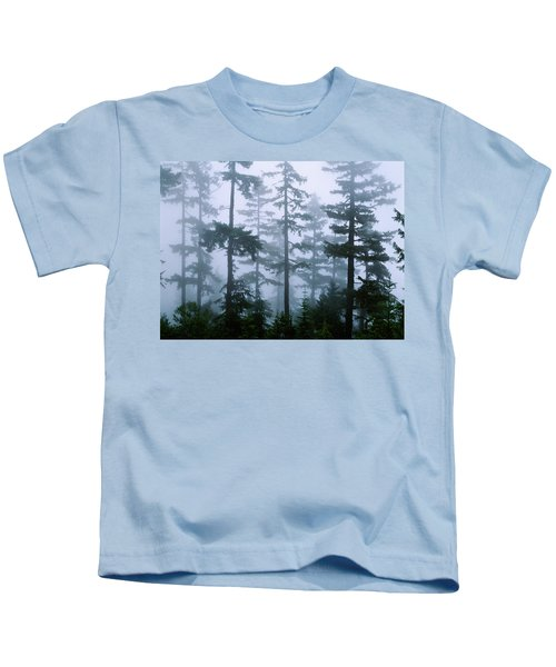 Silhouette Of Trees With Fog Kids T-Shirt by Panoramic Images