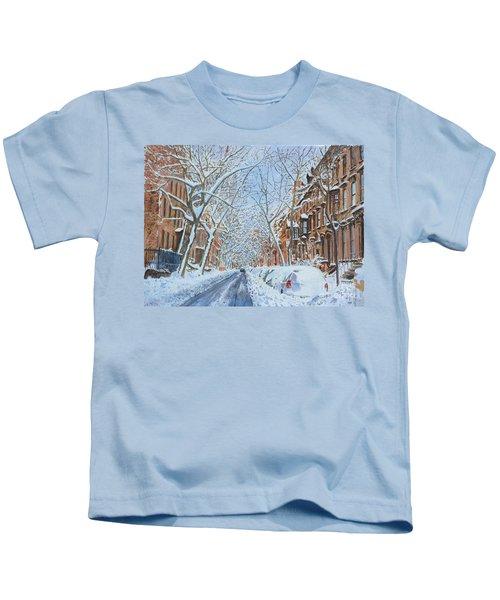 Snow Remsen St. Brooklyn New York Kids T-Shirt