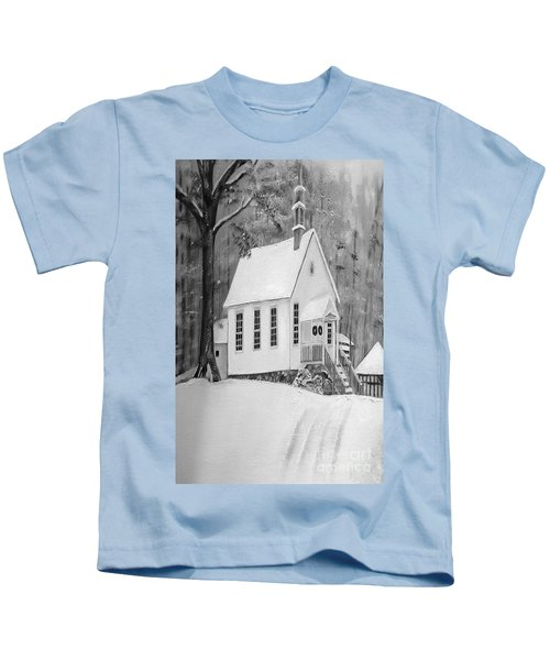 Snowy Gates Chapel -white Church - Portrait View Kids T-Shirt
