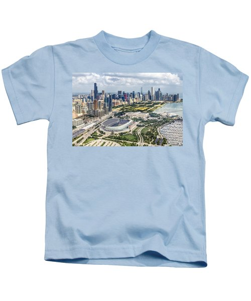 Soldier Field And Chicago Skyline Kids T-Shirt by Adam Romanowicz
