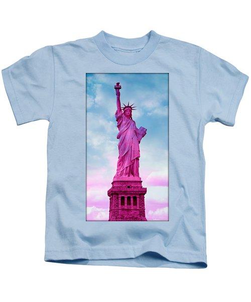 Statue Of Liberty - Pink Kids T-Shirt