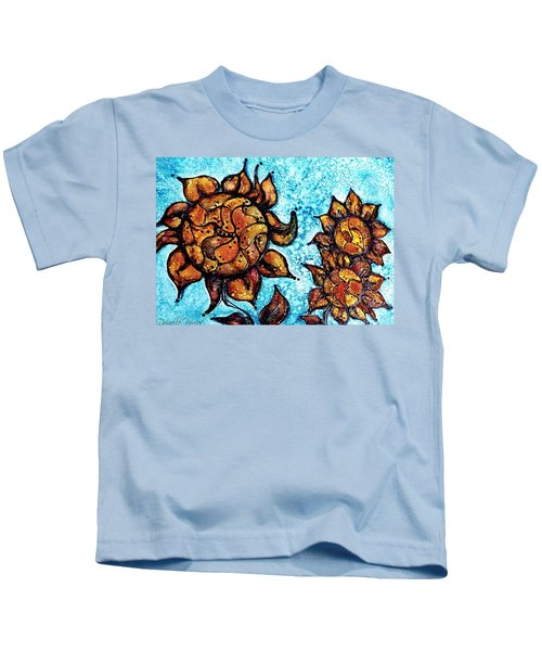 Sunflower Patchwork Delight Alcohol Inks Kids T-Shirt
