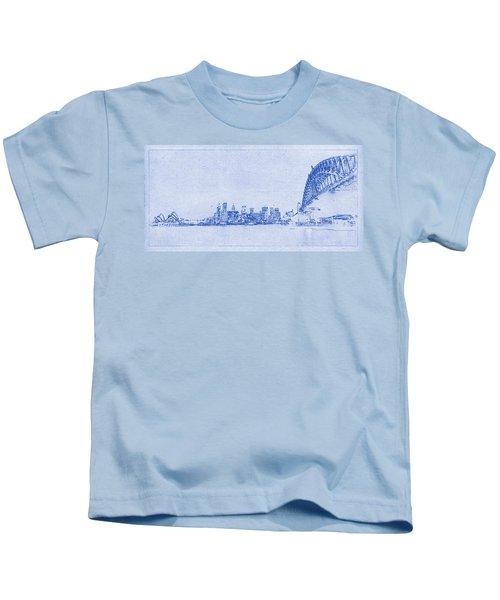 Sydney Skyline Blueprint Kids T-Shirt by Kaleidoscopik Photography