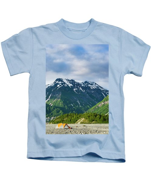 Tents And Mountains Along The Shores Kids T-Shirt
