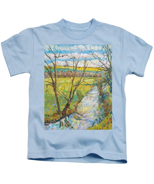 The Cherwell From Rousham II Oil On Canvas Kids T-Shirt