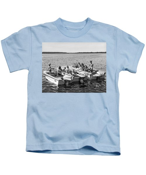 Three Power Boats Gather Together For Summer Boating Fun Kids T-Shirt