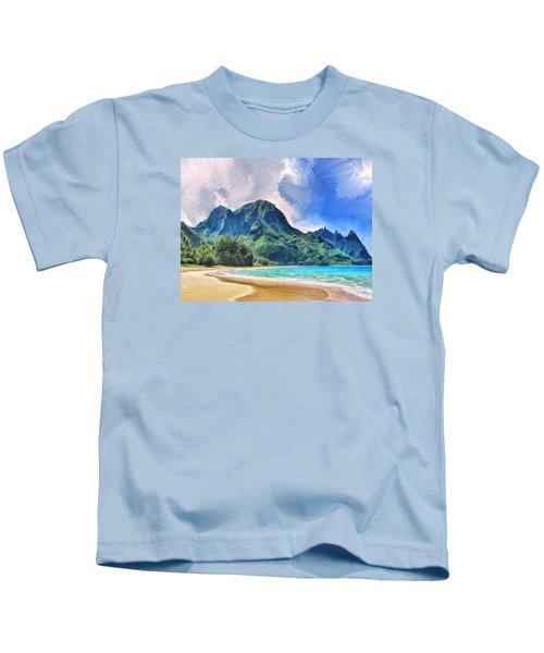 Tunnels Beach Kauai Kids T-Shirt