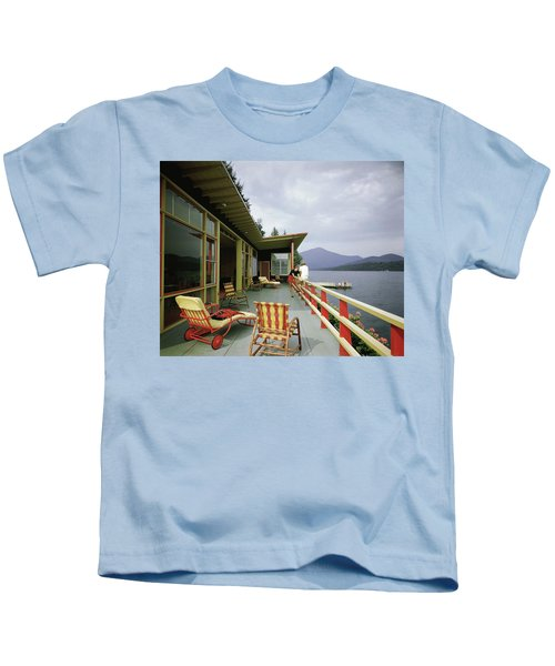 Two Women On The Deck Of A House On A Lake Kids T-Shirt