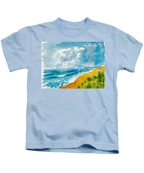 Virginia Beach With Pier Kids T-Shirt