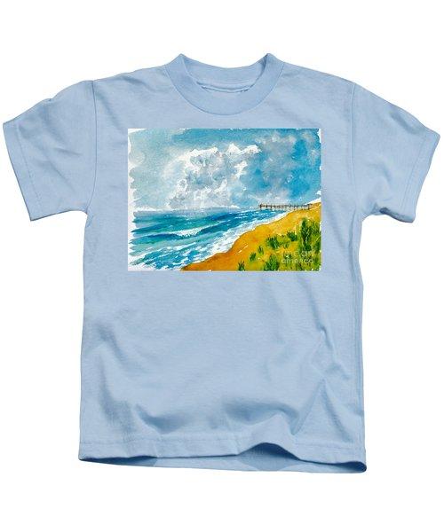 Virginia Beach With Pier Kids T-Shirt