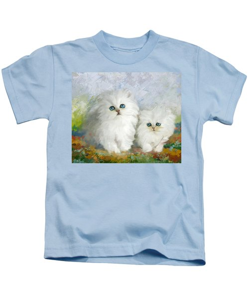 White Persian Kittens  Kids T-Shirt by Catf