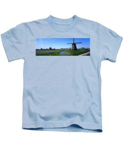 Windmills Near Alkmaar Holland Kids T-Shirt