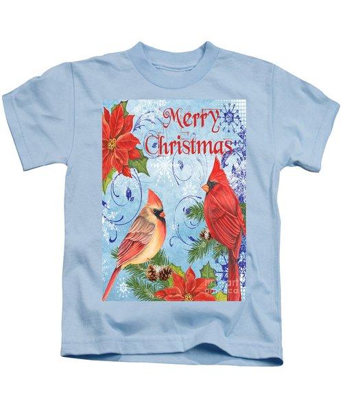 Winter Blue Cardinals-merry Christmas Card Kids T-Shirt