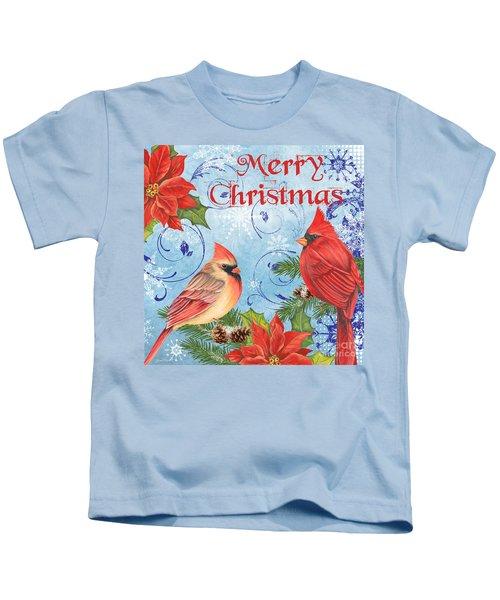 Winter Blue Cardinals-merry Christmas Kids T-Shirt