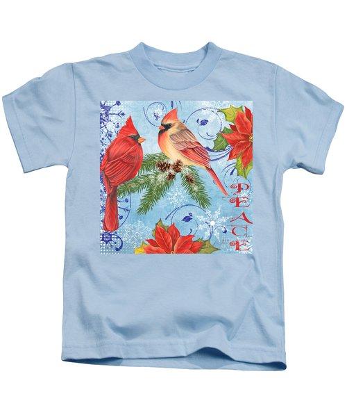 Winter Blue Cardinals-peace Kids T-Shirt