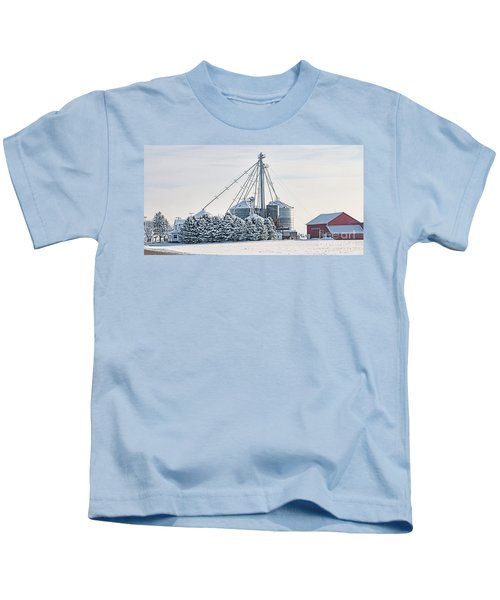 Winter Farm  7365 Kids T-Shirt by Jack Schultz