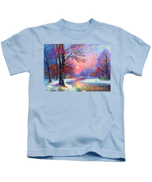 Winter Nightfall, Snow Scene  Kids T-Shirt