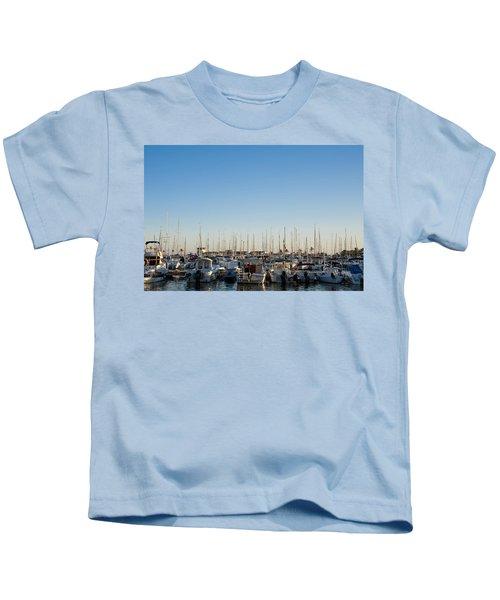 Boats In Alcudias Port, Mallorca Kids T-Shirt
