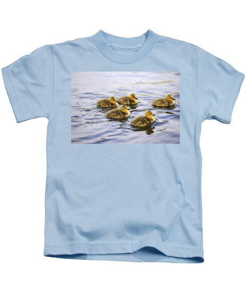 Five Goslings In The Water Kids T-Shirt