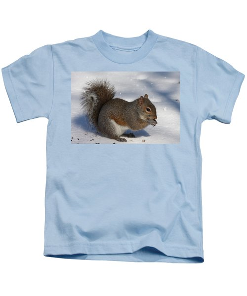 Gray Squirrel On Snow Kids T-Shirt