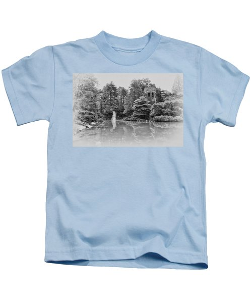 Longwood Gardens Castle In Black And White Kids T-Shirt