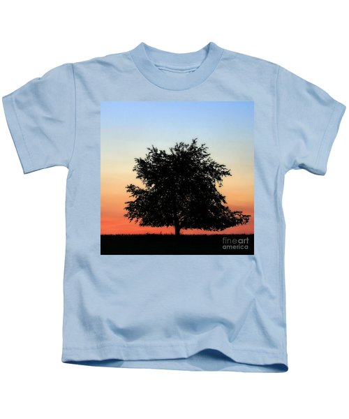 Make People Happy  Square Photograph Of Tree Silhouette Against A Colorful Summer Sky Kids T-Shirt