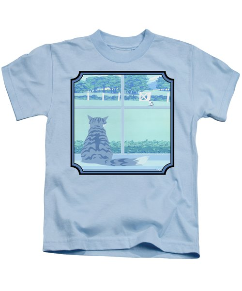 Abstract Cats Staring Stylized Retro Pop Art Nouveau 1980s Green Landscape - Square Format Kids T-Shirt
