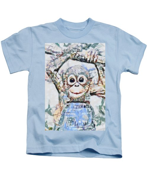 Monkey Rainbow Splattered Fragmented Blue Kids T-Shirt