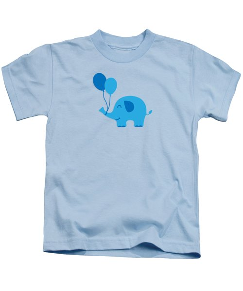 Sweet Funny Baby Elephant With Balloons Kids T-Shirt by Philipp Rietz