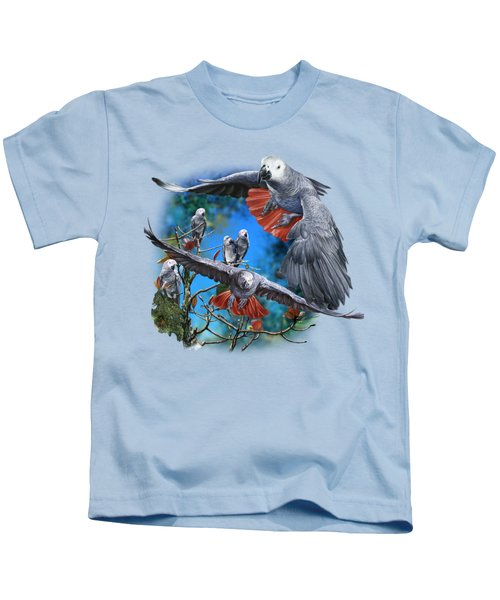 African Grey Parrots Kids T-Shirt by Owen Bell
