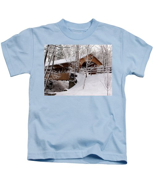 Covered Bridge At Olmsted Falls - 2 Kids T-Shirt
