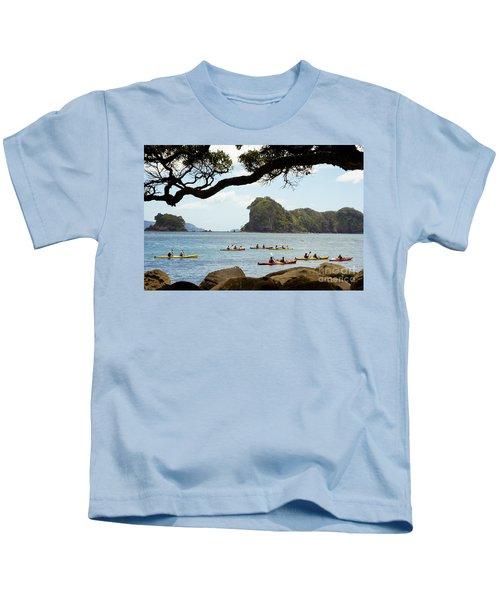 Stingray Cove, Kayakers Paddling Kids T-Shirt