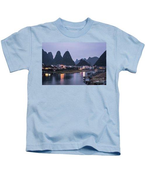 Twilight Over The Lijang River In Yangshuo Kids T-Shirt