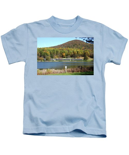 View Of Peaks Of Otter Lodge And Abbott Lake  In Autumn Kids T-Shirt