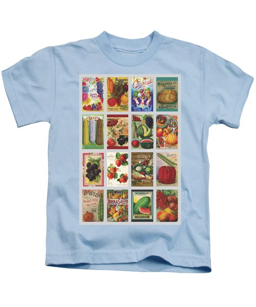Vintage Farm Seed Packs Kids T-Shirt by Debbie Karnes