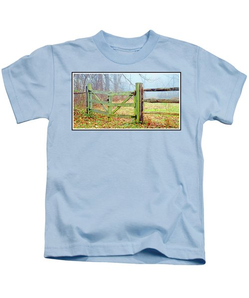 Wooden Fence On A Foggy Morning Kids T-Shirt
